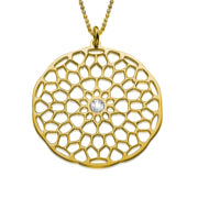 My Only One  Maze Mandala 18K Gold Plated Sterling Silver with Crystal Stone Necklace