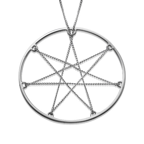 My Only One  In Chains Septagram star Sterling Silver Necklace
