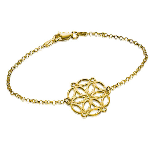 My Only One - Circle of Life Mandala 18K Gold Plated Sterling Silver Bracelet