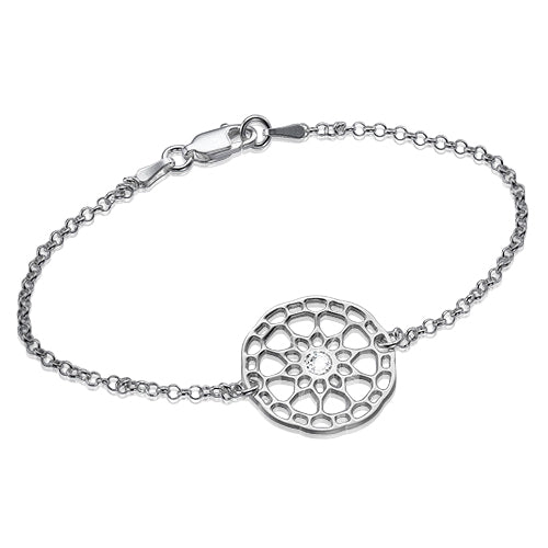 My Only One  Maze Mandala Sterling Silver with Crystal Stone Bracelet