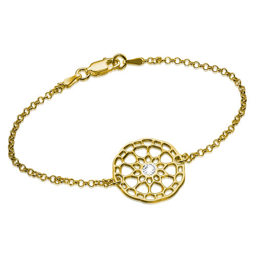 My Only One  Maze Mandala 18K Gold Plated Sterling Silver with Crystal Stone Bracelet