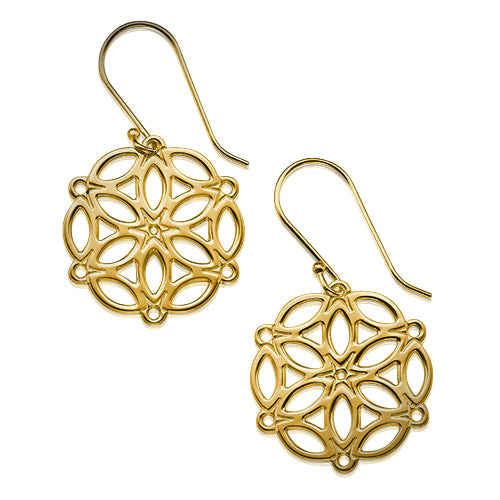 My Only One - Circle of Life Mandala 18K Gold Plated Sterling Silver Earrings