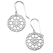 My Only One  Maze Mandala Sterling Silver with Crystal Stone Earrings