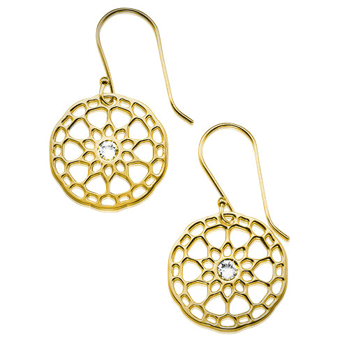 My Only One  Maze Mandala 18K Gold Plated Sterling Silver with Crystal Stone Earrings