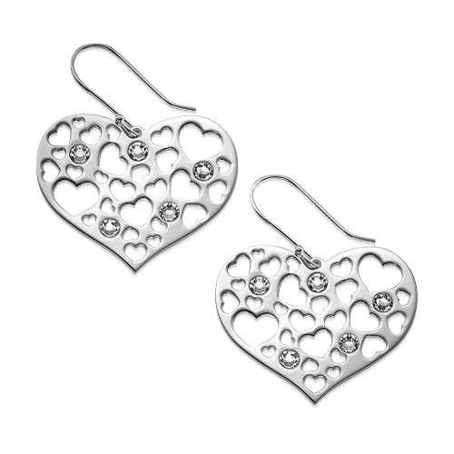 My Only One - Sterling Silver Mother Heart Earrings with Birthstones