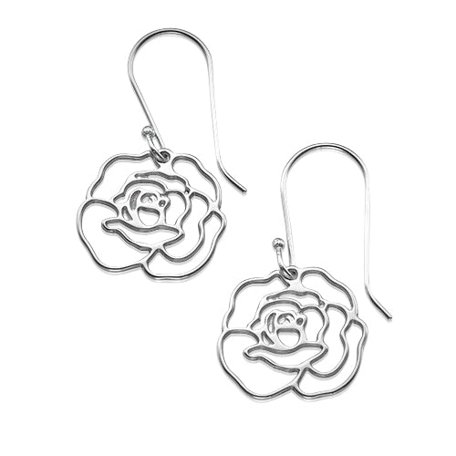My Only One  Sterling Silver Rose Earrings