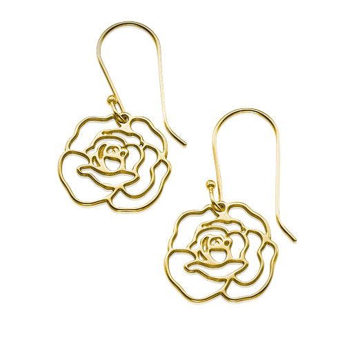 My Only One  18K Gold Plated Sterling Silver Rose Earrings