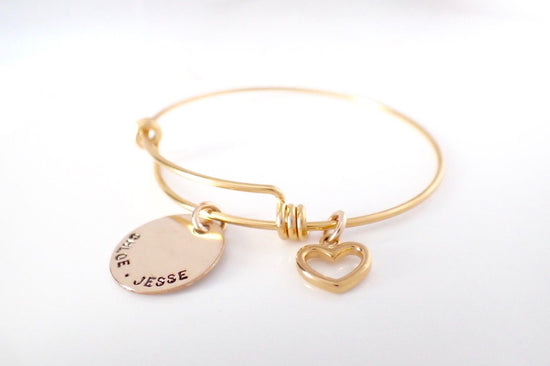 Gold Expandable Bracelet & Heart Charm