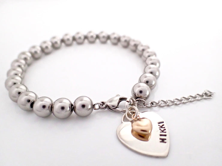 Two Tone Hearts Silver Ball Bracelet