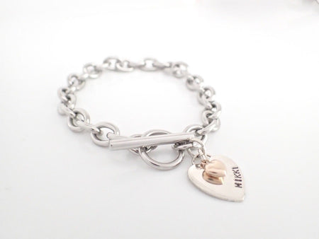 Silver Heart Two Tone Toggle Bracelet