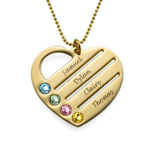 9k Solid Gold Heart Necklace with Engraved Names and Birthstones