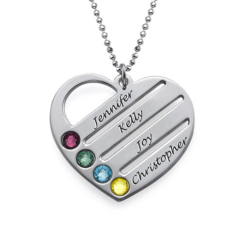 0.925 Silver Heart Necklace with Engraved Names and Birthstones