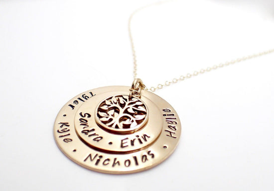 14k Gold Filled Family Tree Disc Necklace