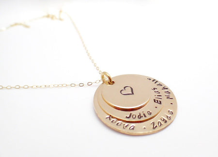 14k Gold Filled 3-Stack Disc Necklace