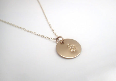 14k Gold Filled Initial Disc Necklace