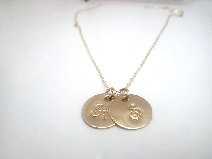 14k Gold Filled Initial Discs Necklace (x2)