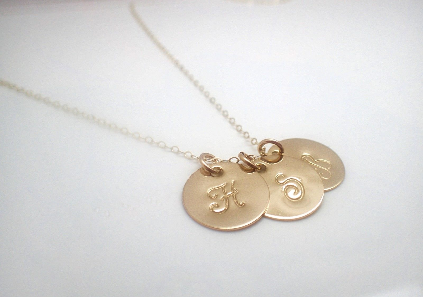 14k gold filled initial discs necklace x3 missy name necklace 14k gold filled initial discs necklace x3 aloadofball Choice Image