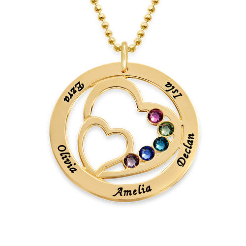 9k Solid Gold Heart in Heart Birthstone Necklace for Moms