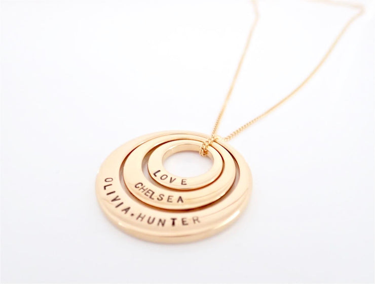 Trio Gold IP Offset Circle Necklace
