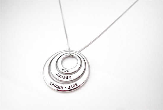 Trio Silver Offset Circle Necklace