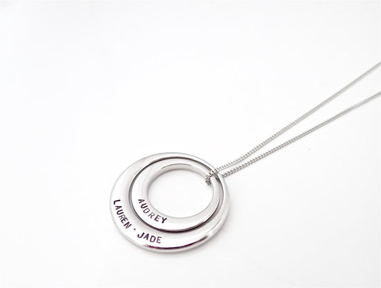 Duo Silver Offset Circle Necklace