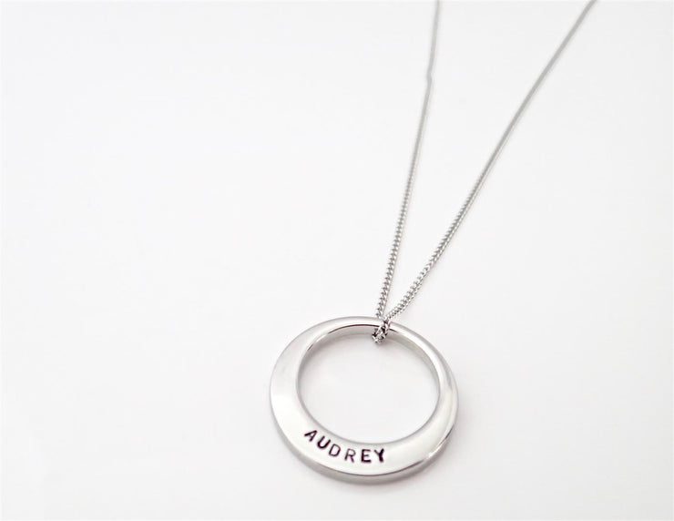 Silver Offset Circle Necklace - Medium