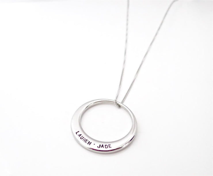 Silver Offset Circle Necklace - Large