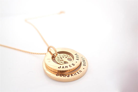 Gold Eternity Tree of Life Duo Circle Necklace
