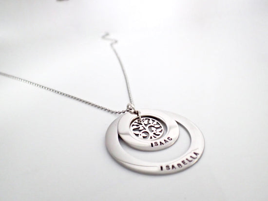 Silver Eternity Tree of Life Duo Circle Necklace