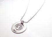 Silver Eternity Tree of Life Circle Necklace