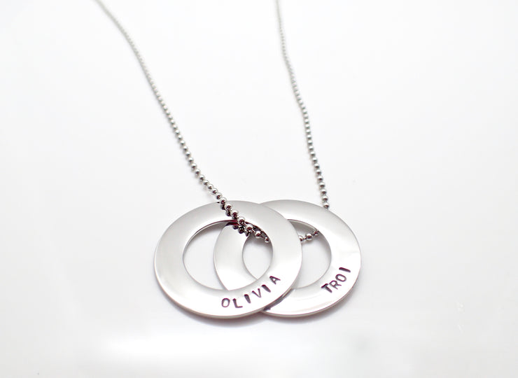 Silver Eternity Duo Circle Necklace
