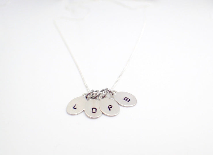 Sterling Silver Initial Oval Pendants (x4)