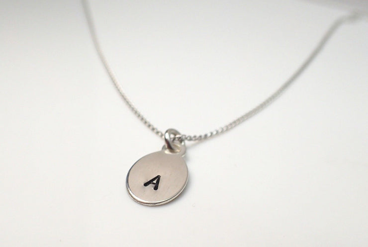 Sterling Silver Initial Oval Pendant
