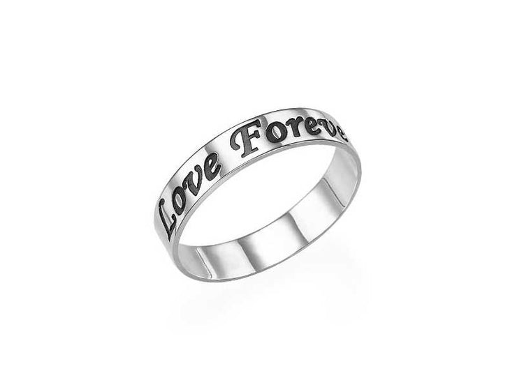 0.925 Silver Engraved Ring - Rounded Script