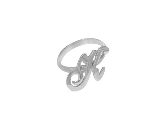 0.925 Silver Initial Ring