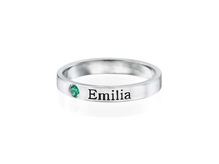 Stackable Birthstone Name Rings