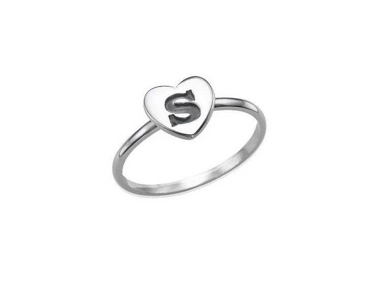 0.925 Silver Silver Heart Initial Ring