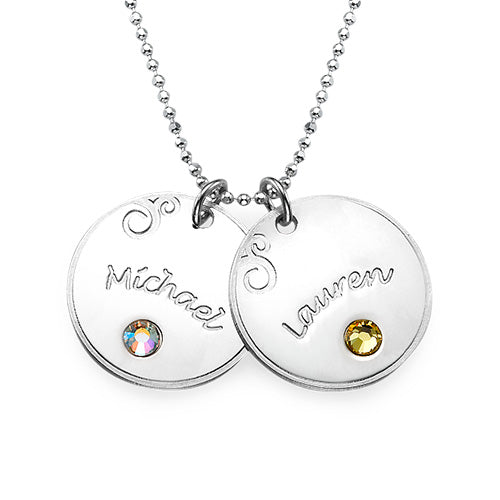 0.925 Silver Engraved Disc Necklace - Birthstone