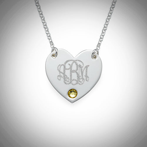 Monogram Heart Necklace with Birthstone