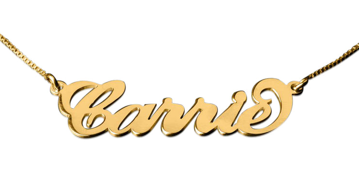 18k Gold Plated Carrie Name Necklace