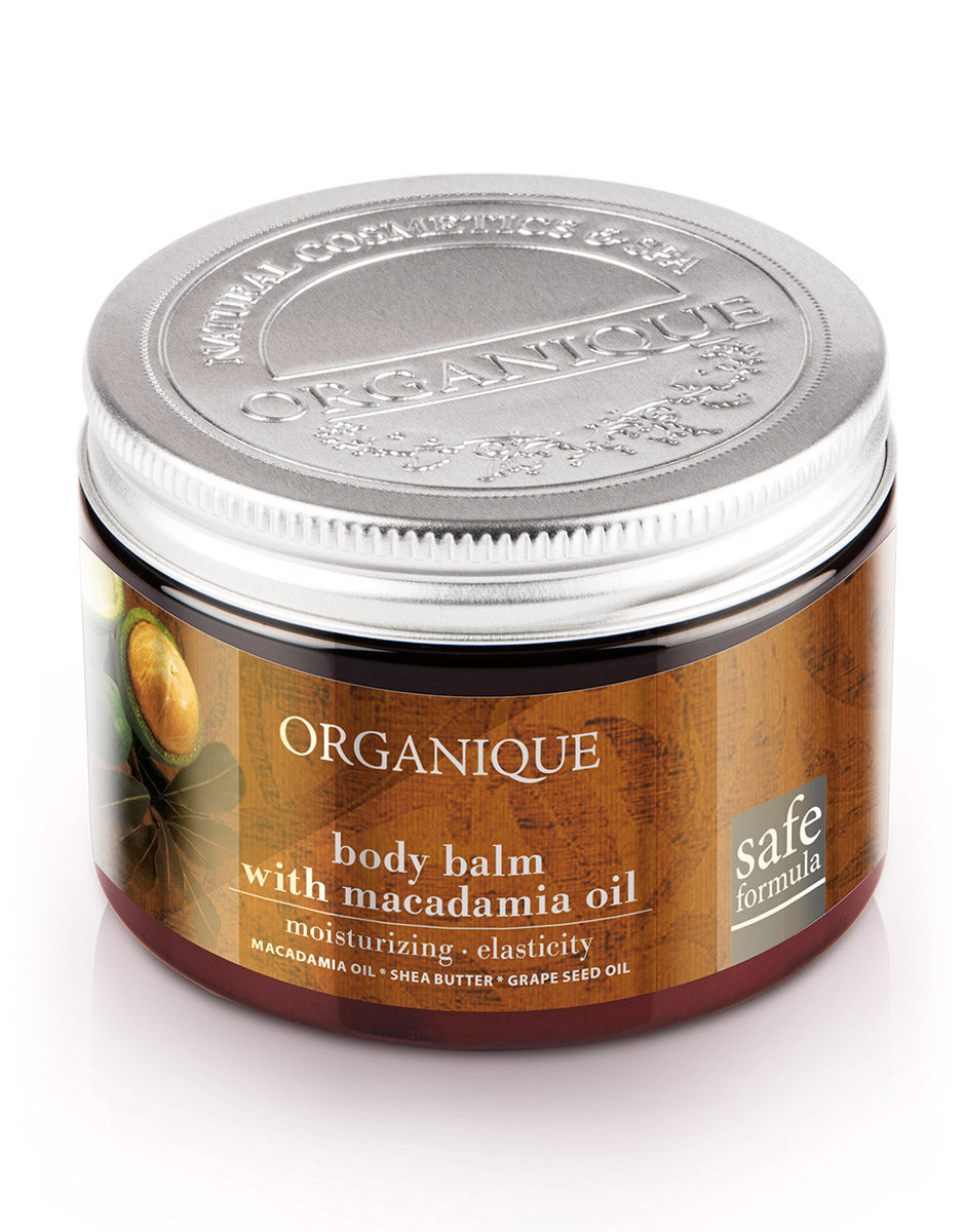 Natural shea butter body balm with macadamia oil from Organique cosmetics