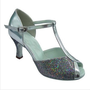 169105 - Silver with Silver Glitter Front, Twin T-Bar Strap