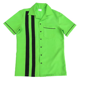 Men's Rock and Roll Shirt -  Lime Back and Front with 2 pinstripes, trimmed pocket and sleeves (colour range available)