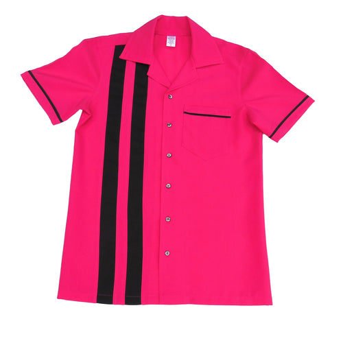 Men's Rock and Roll Shirt -  Hot Pink Back and Front with 2 pinstripes, trimmed pocket and sleeves (colour range available)