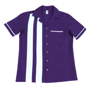 Men's Rock and Roll Shirt -  Purple Back and Front with 2 pinstripes, trimmed pocket and sleeves (colour range available)