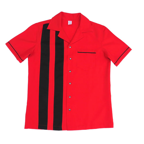Men's Rock and Roll Shirt -  Red Back and Front with 2 pinstripes, trimmed pocket and sleeves (colour range available)