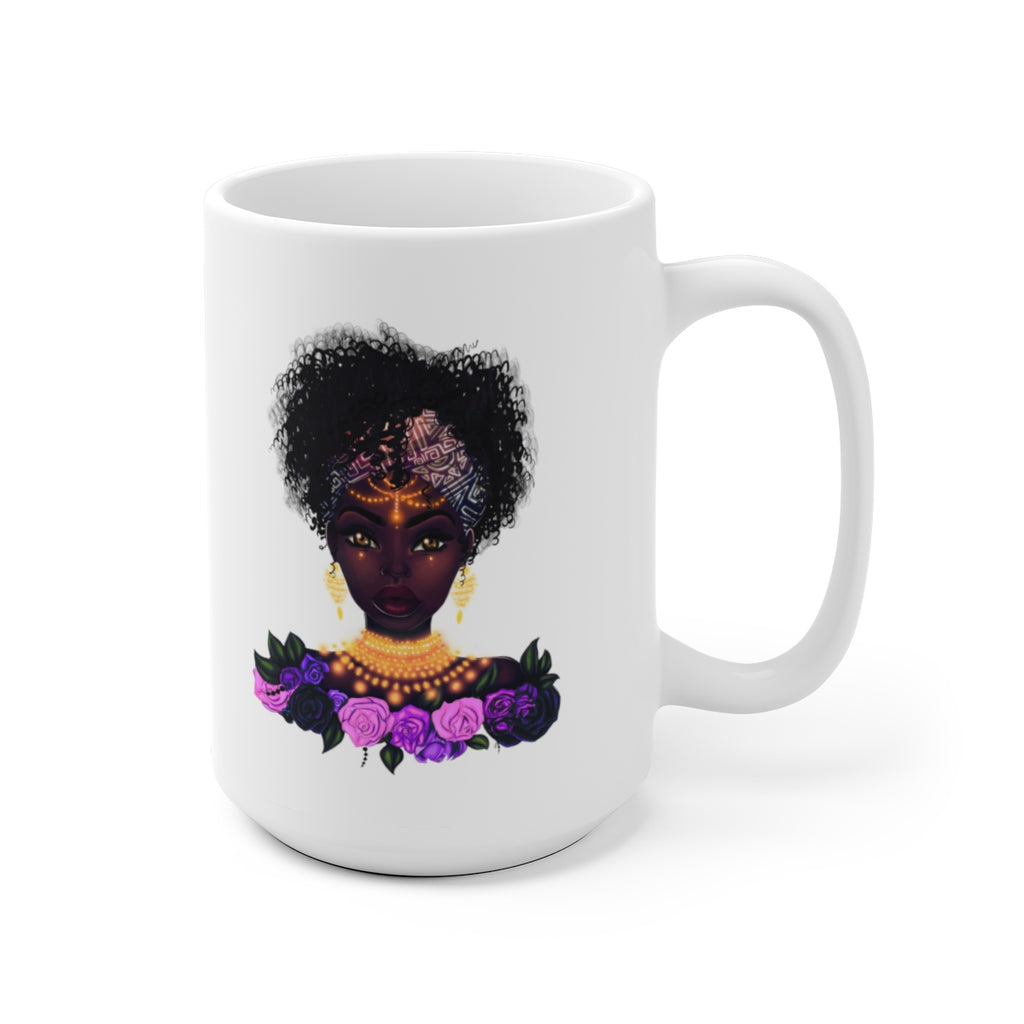 Flower Queen White Ceramic Mug 15oz