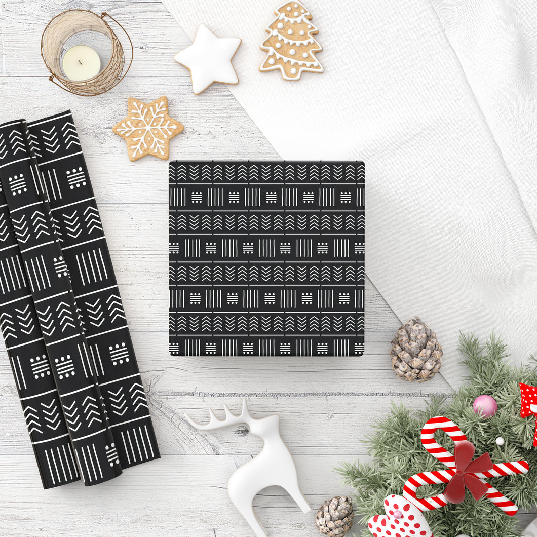 Mudcloth Black Wrapping Paper Roll