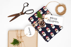 Emoji Santa Black Wrapping Paper Roll