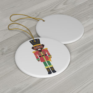 Chocolate Nutcracker Round Ceramic Ornament _b